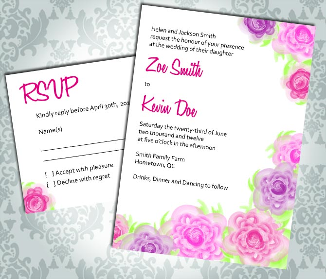 Wedding Invitation - Rose - Party Invitation and RSVP - Custom