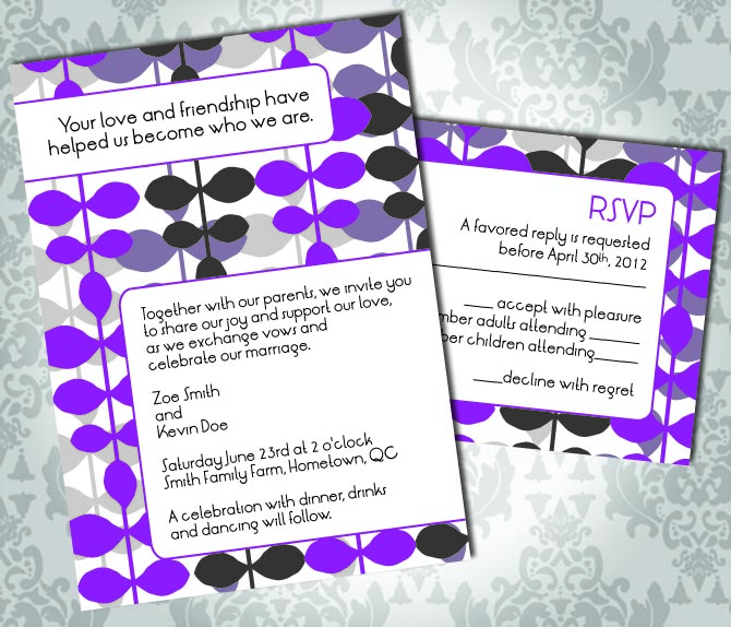 Wedding Invitation - Retro Abstract Pattern - Party Invitation and RSVP - Custom