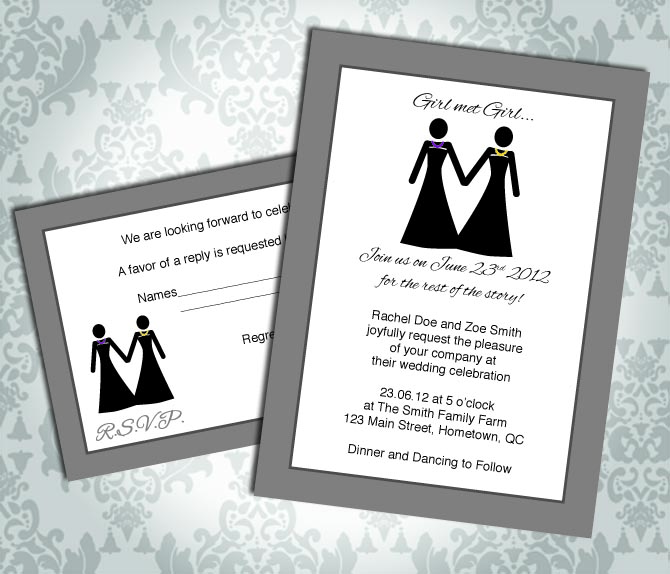 Lesbian Wedding Invitation / Commitment Ceremony - Girl met Girl - RSVP - Custom