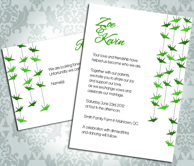 Wedding Invitation - Paper Crane - Party Invitation and RSVP - Custom
