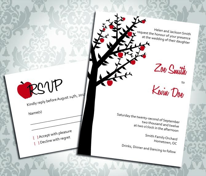 Wedding Invitation - Apple Tree Orchard - Party Invitation and RSVP