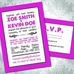 Wedding Invitation - Color Block - Text Block - Party Invitation & RSVP - Custom